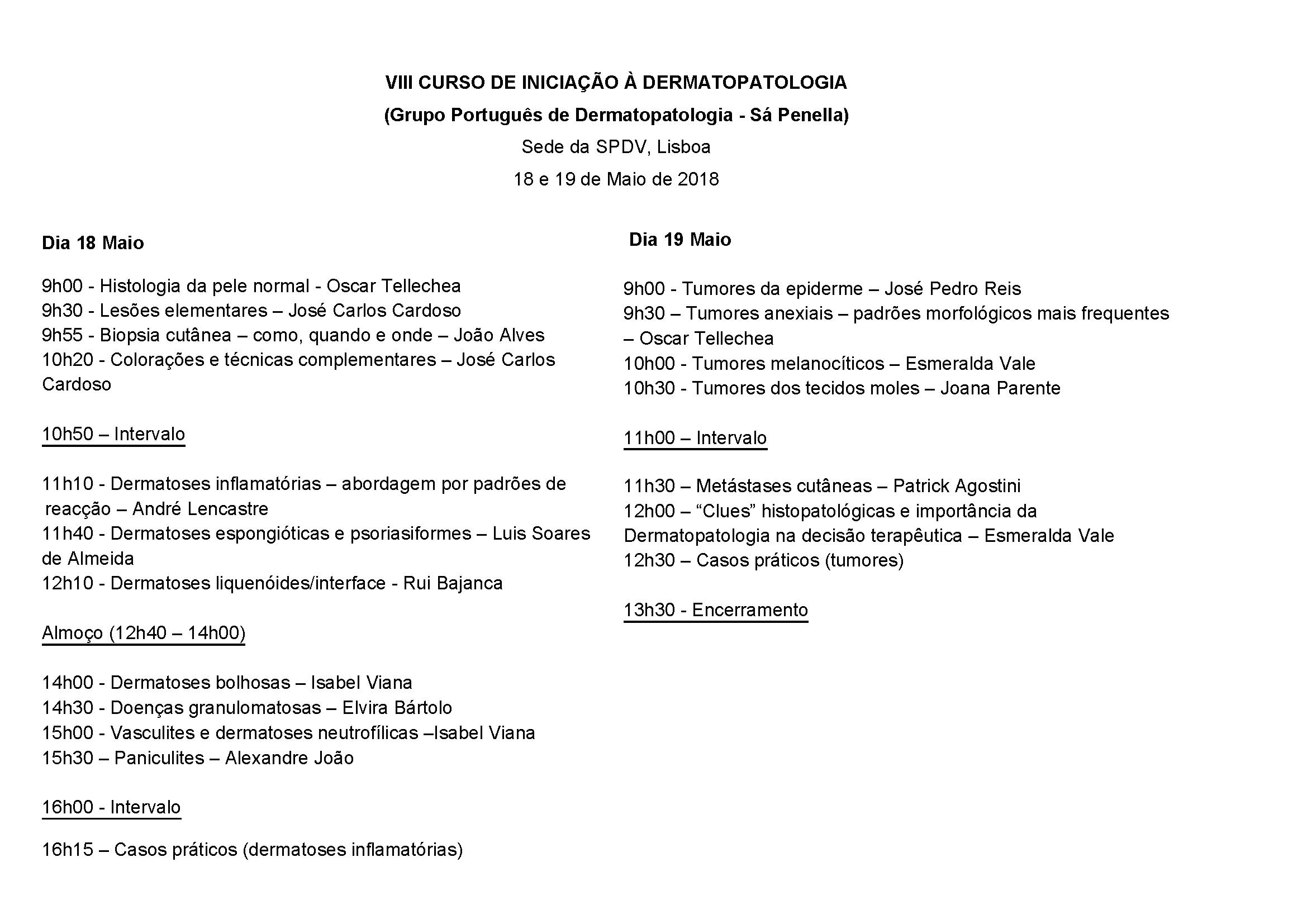 VIII Curso de Iniciação à Dermatopatologia