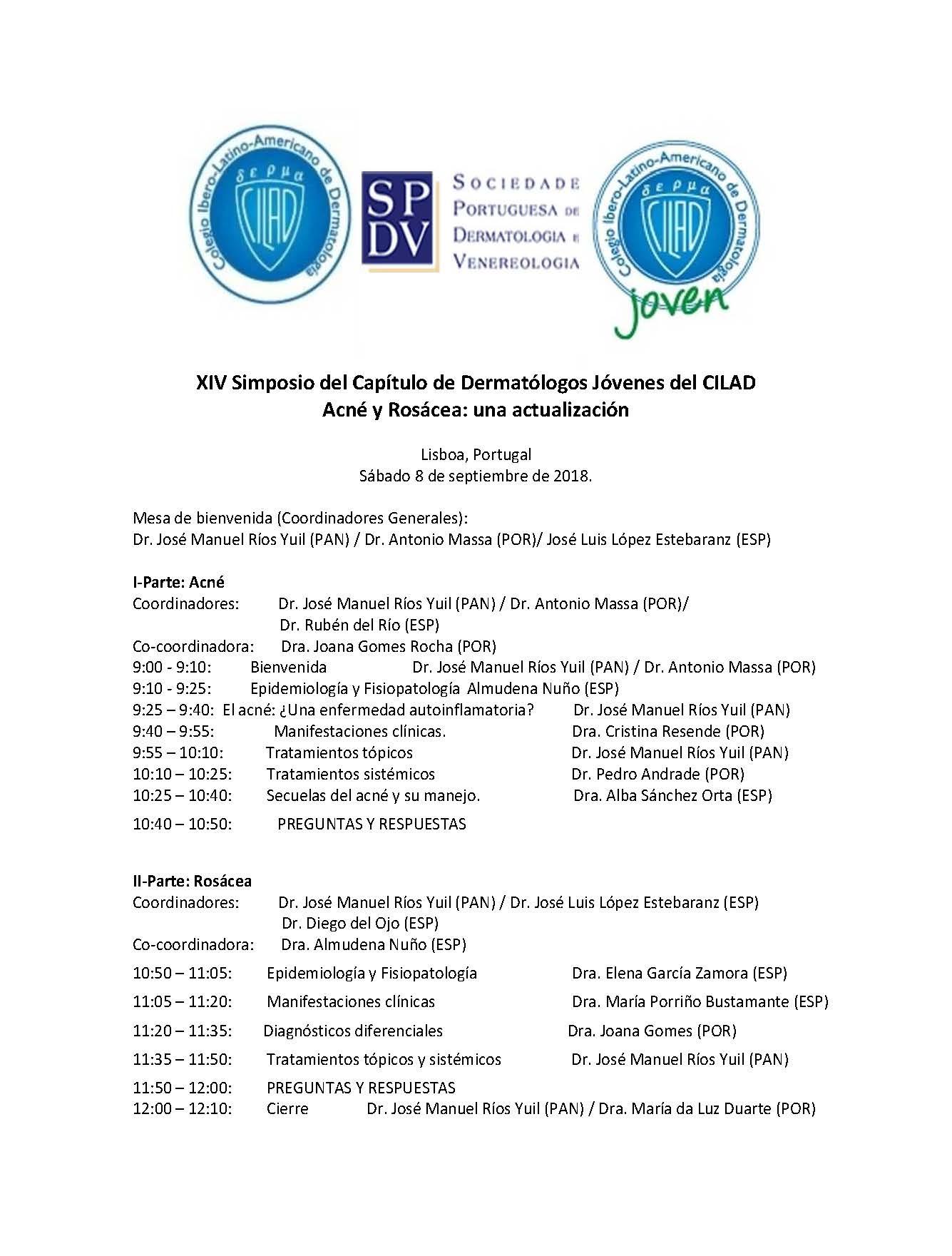 XIV Simposio del Capítulo de Dermatólogos Jóvenes del Colegio Ibero Latinoamericano de Dermatología (CILAD)